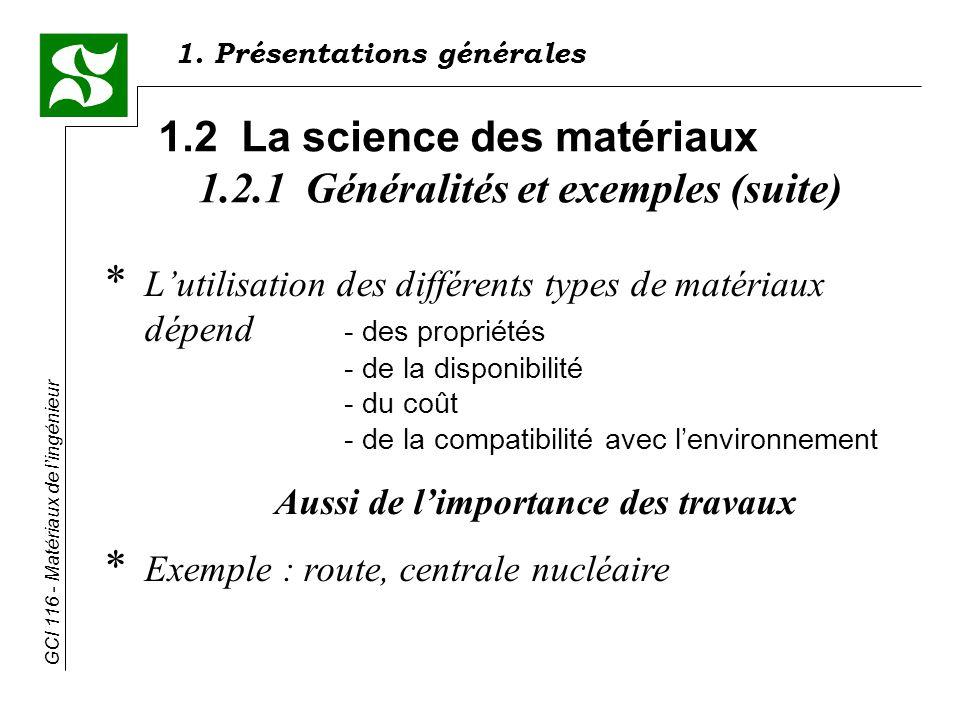 GCI 116 - Matériaux de lingénieur * Lutilisation des différents types de matériaux dépend - des propriétés - de la disponibilité - du coût - de la compatibilité avec lenvironnement Aussi de limportance des travaux * Exemple : route, centrale nucléaire 1.2 La science des matériaux 1.2.1 Généralités et exemples (suite) 1.
