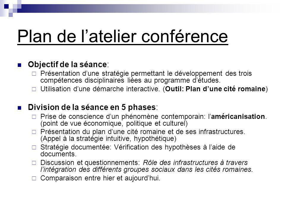 Plan de latelier conférence Objectif de la séance: Présentation dune stratégie permettant le développement des trois compétences disciplinaires liées au programme détudes.
