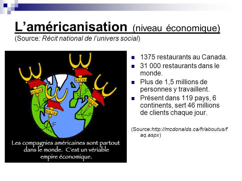 Laméricanisation (niveau économique) (Source: Récit national de lunivers social) 1375 restaurants au Canada. 31 000 restaurants dans le monde. Plus de