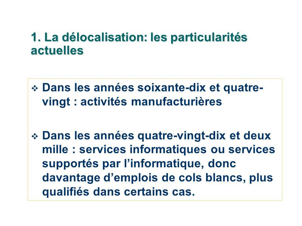 1. La délocalisation: les particularités actuelles Dans les années soixante-dix et quatre- vingt : activités manufacturières Dans les années quatre-vi