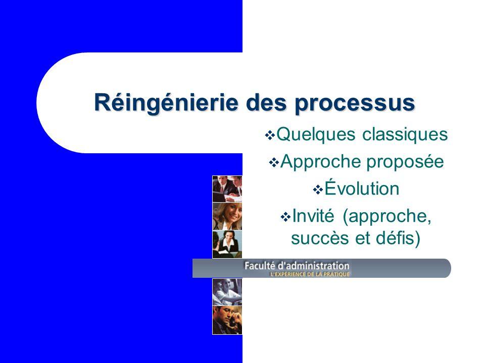 Réingénierie des processus Quelques classiques Approche proposée Évolution Invité (approche, succès et défis)