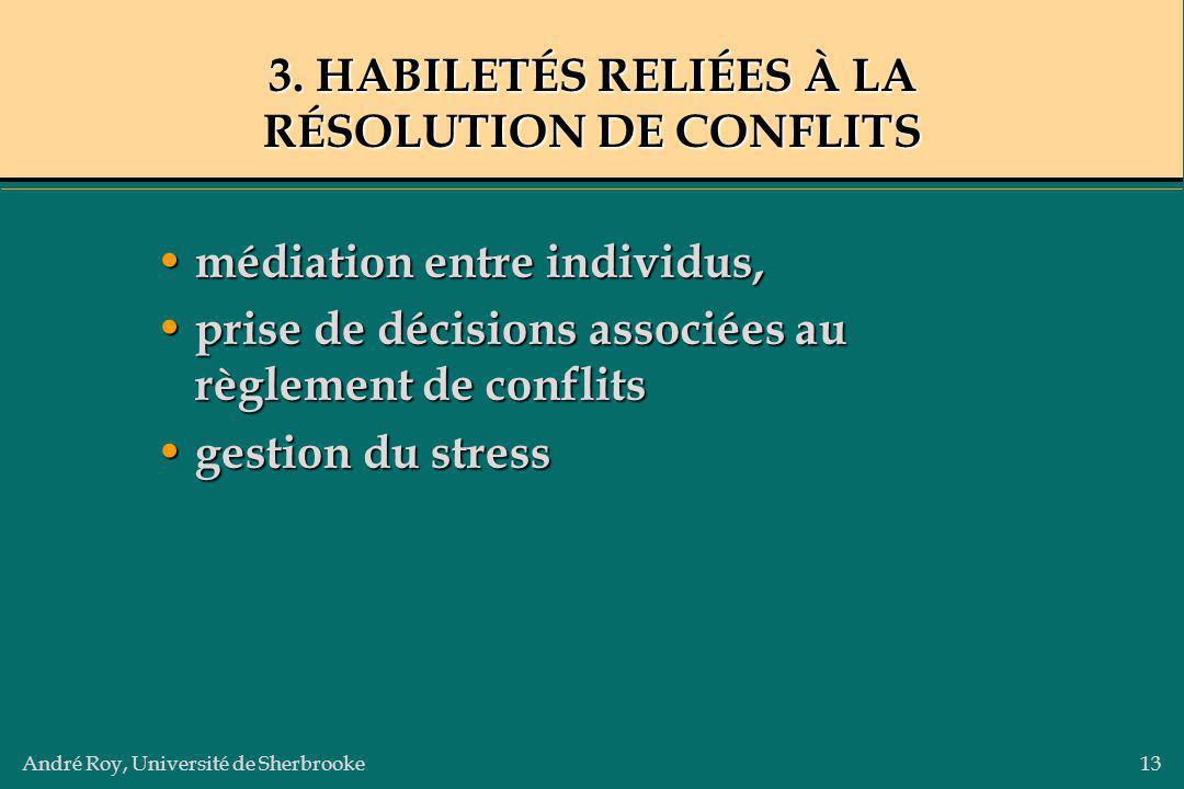 André Roy, Université de Sherbrooke13 3. HABILETÉS RELIÉES À LA RÉSOLUTION DE CONFLITS médiation entre individus, médiation entre individus, prise de