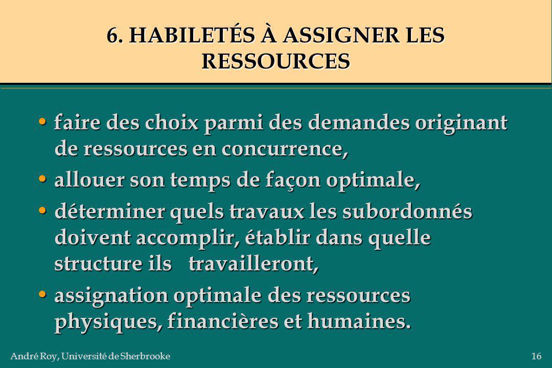 André Roy, Université de Sherbrooke16 6. HABILETÉS À ASSIGNER LES RESSOURCES faire des choix parmi des demandes originant de ressources en concurrence