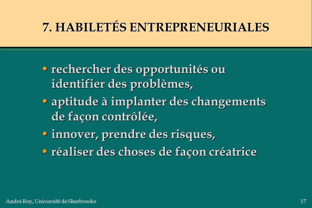 André Roy, Université de Sherbrooke17 7. HABILETÉS ENTREPRENEURIALES rechercher des opportunités ou identifier des problèmes, rechercher des opportuni