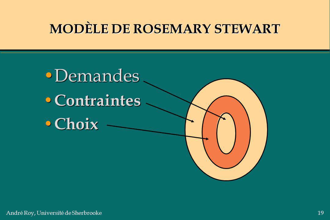 André Roy, Université de Sherbrooke19 MODÈLE DE ROSEMARY STEWART DemandesDemandes Contraintes Contraintes Choix Choix
