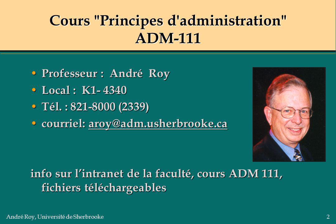 André Roy, Université de Sherbrooke3 SESSION # 1 Le manager, ses fonctions et son environnement