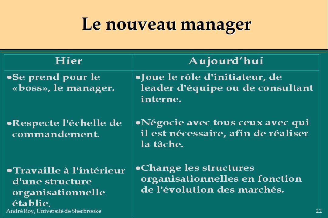 André Roy, Université de Sherbrooke22 Le nouveau manager
