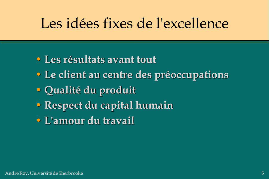 André Roy, Université de Sherbrooke5 Les idées fixes de l'excellence Les résultats avant tout Les résultats avant tout Le client au centre des préoccu
