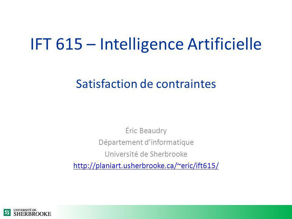 IFT 615 – Intelligence Artificielle Satisfaction de contraintes Éric Beaudry Département dinformatique Université de Sherbrooke http://planiart.usherb