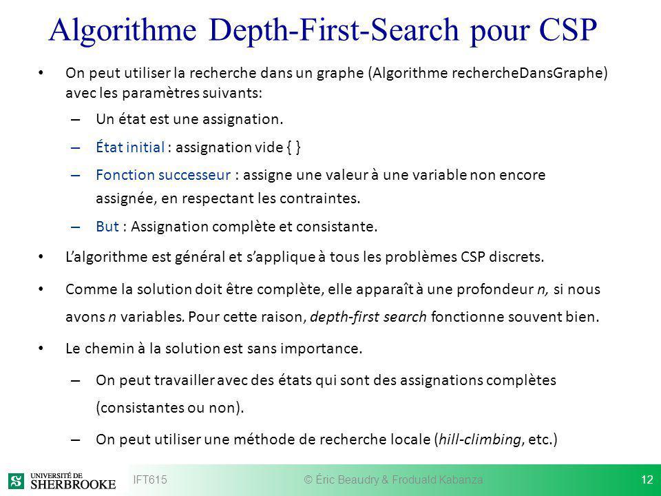 Algorithme Depth-First-Search pour CSP On peut utiliser la recherche dans un graphe (Algorithme rechercheDansGraphe) avec les paramètres suivants: – U