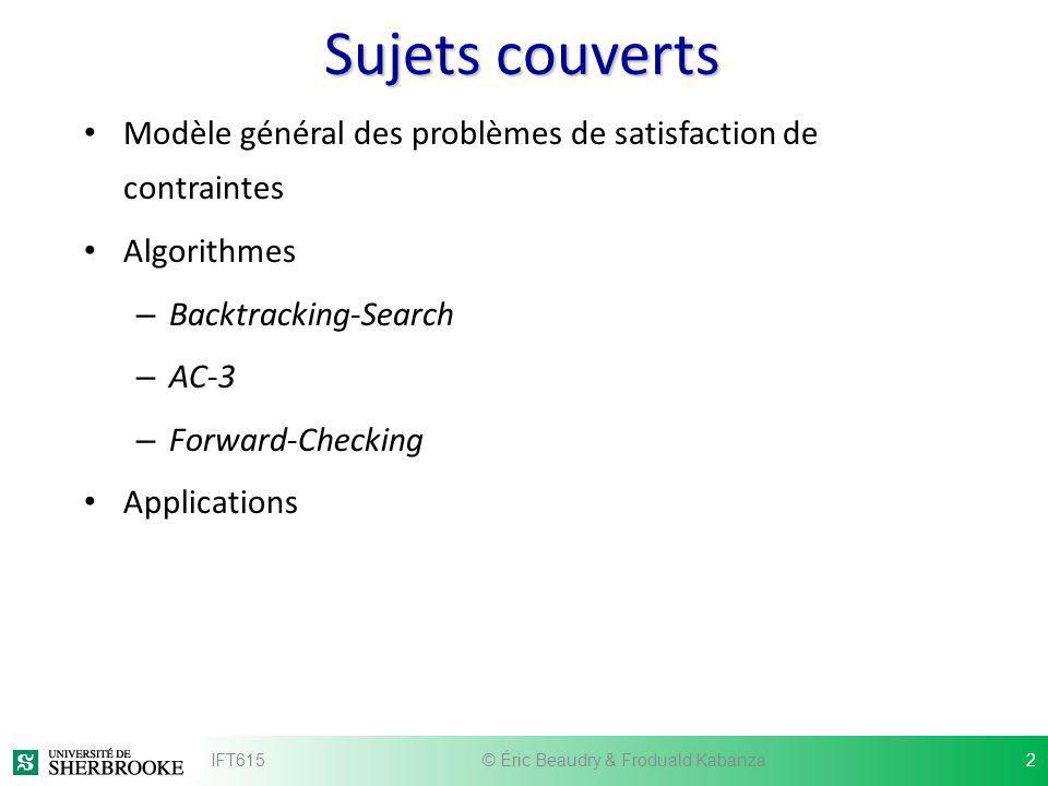 Sujets couverts Modèle général des problèmes de satisfaction de contraintes Algorithmes – Backtracking-Search – AC-3 – Forward-Checking Applications I