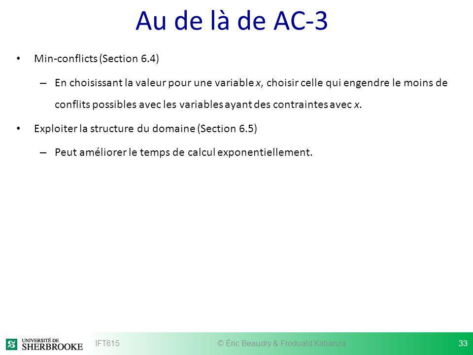 Au de là de AC-3 Min-conflicts (Section 6.4) – En choisissant la valeur pour une variable x, choisir celle qui engendre le moins de conflits possibles
