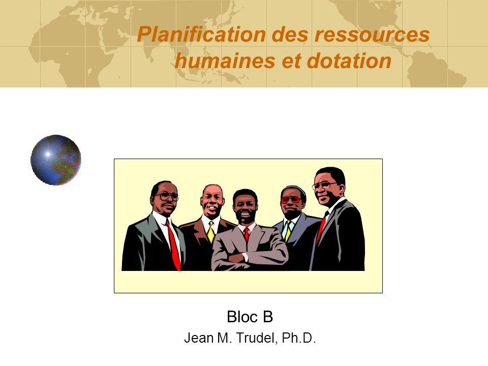 Planification des ressources humaines et dotation Bloc B Jean M. Trudel, Ph.D.
