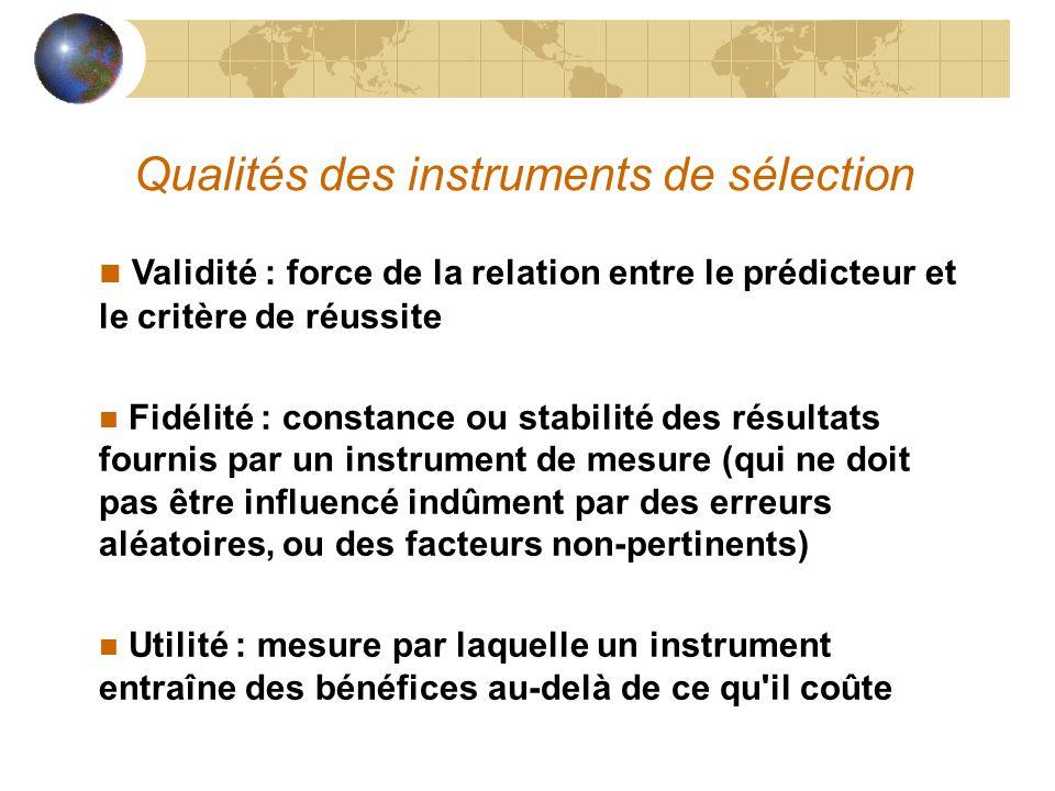 Qualités des instruments de sélection Validité : force de la relation entre le prédicteur et le critère de réussite n Fidélité : constance ou stabilit