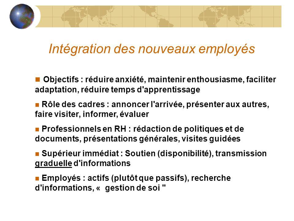 Intégration des nouveaux employés n Objectifs : réduire anxiété, maintenir enthousiasme, faciliter adaptation, réduire temps d'apprentissage n Rôle de