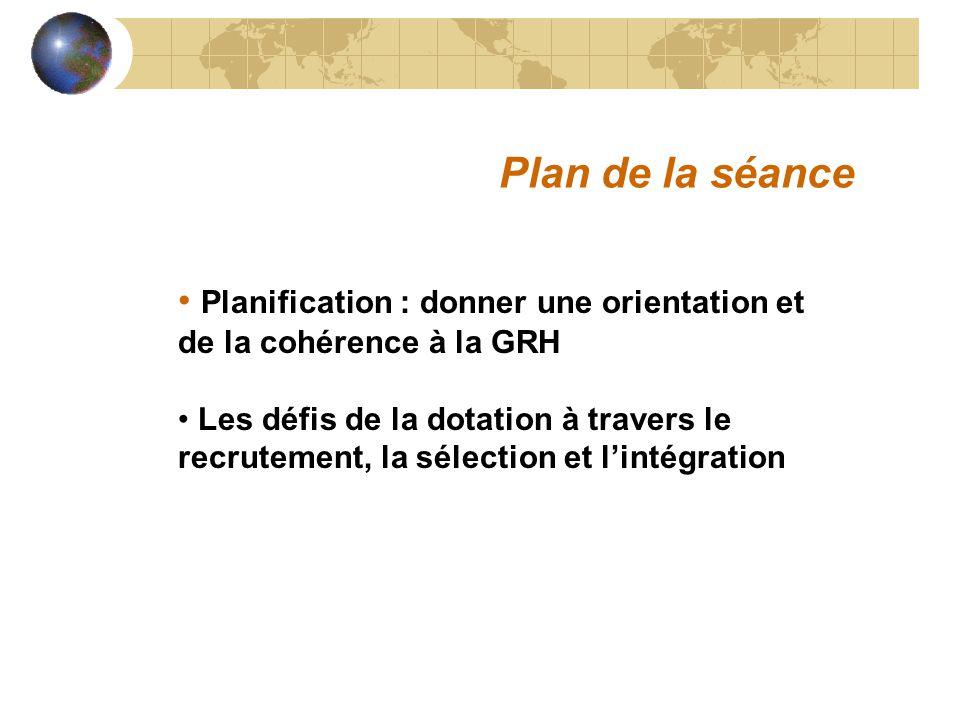 Planification : donner une orientation et de la cohérence à la GRH Les défis de la dotation à travers le recrutement, la sélection et lintégration Pla