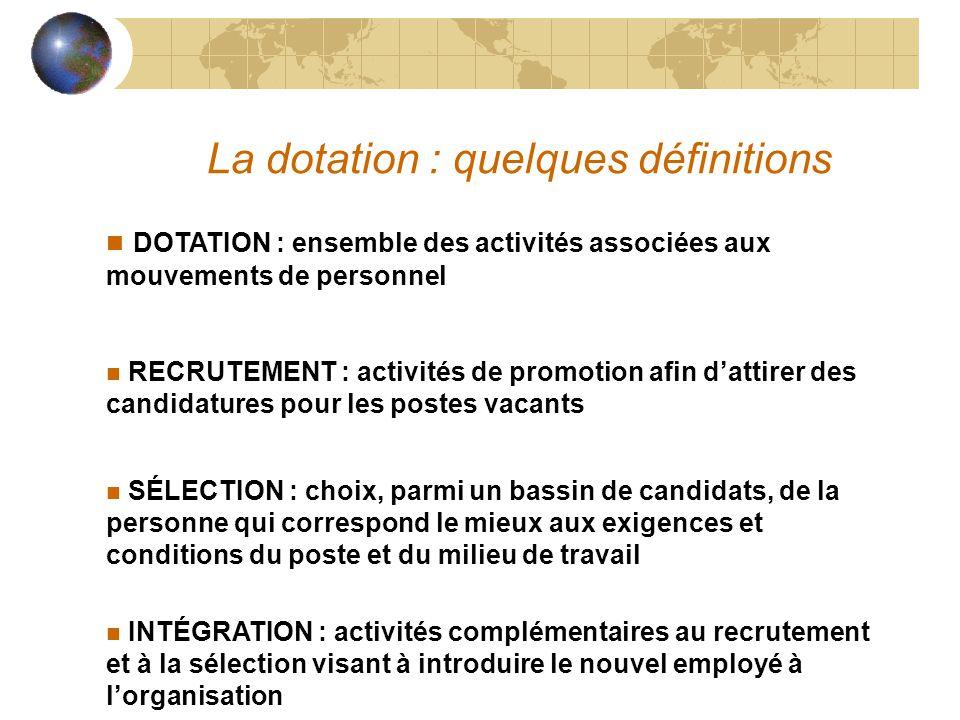 La dotation : quelques définitions n DOTATION : ensemble des activités associées aux mouvements de personnel n RECRUTEMENT : activités de promotion af