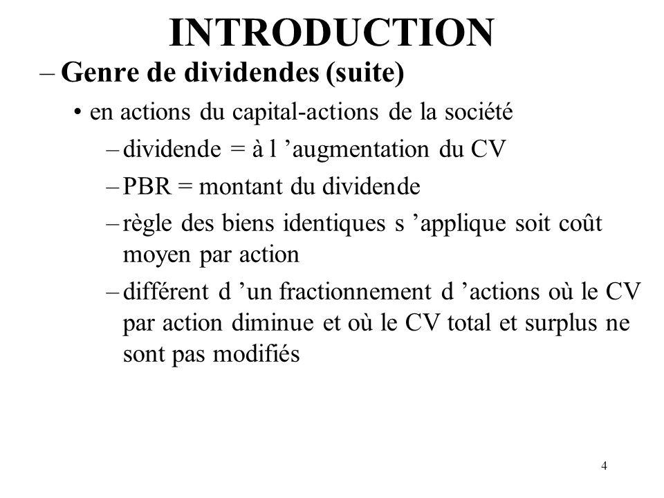 5 INTRODUCTIO N Avantage accordé aux actionnaires: · pleinement imposable, - augmente le PBR du bien reçu à titre de BI - non déductible pour la société.