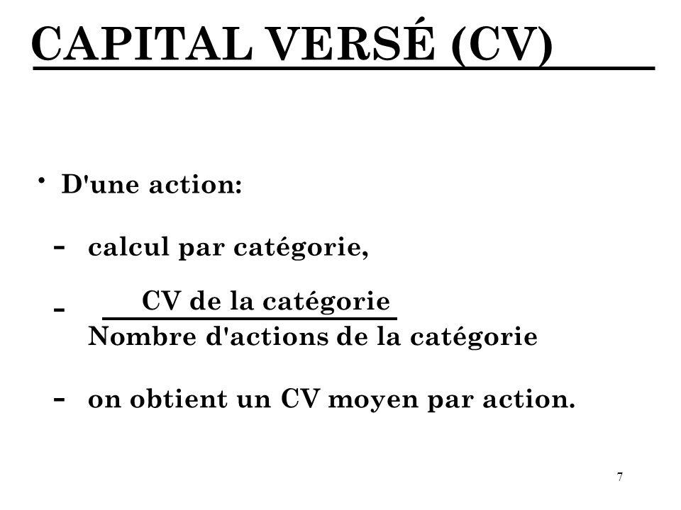 7 CAPITAL VERSÉ (CV) D une action: · calcul par catégorie, - CV de la catégorie Nombre d actions de la catégorie - on obtient un CV moyen par action.