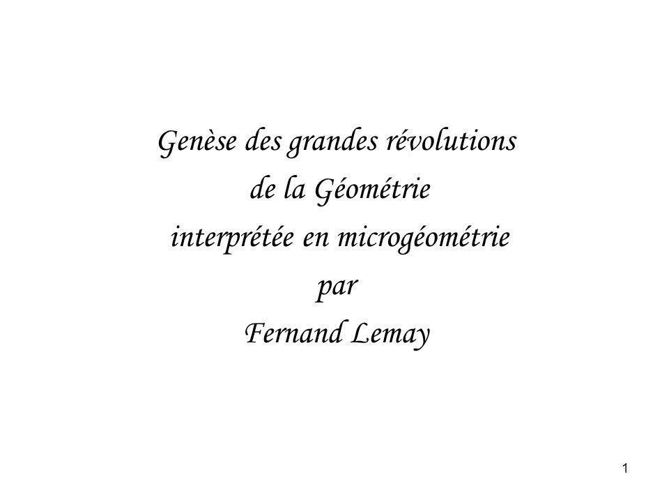 1 Genèse des grandes révolutions de la Géométrie interprétée en microgéométrie par Fernand Lemay