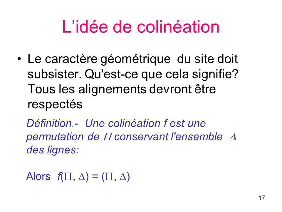 17 Lidée de colinéation Le caractère géométrique du site doit subsister.