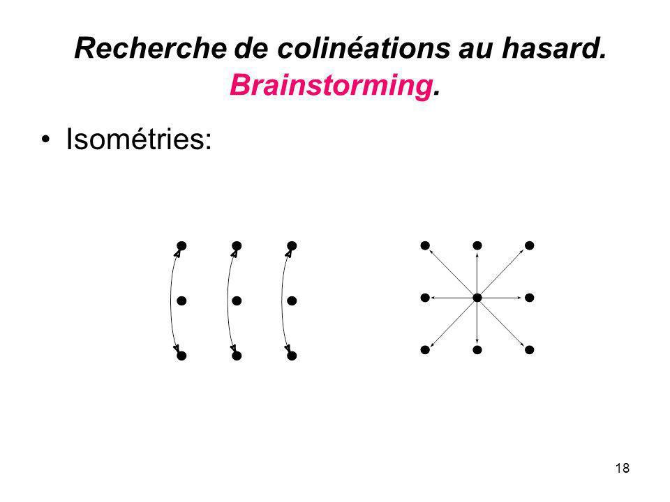 18 Recherche de colinéations au hasard. Brainstorming. Isométries: