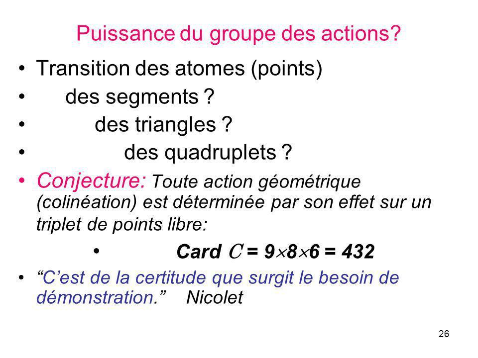 26 Puissance du groupe des actions. Transition des atomes (points) des segments .