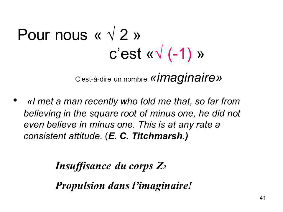 41 Pour nous « 2 » cest « (-1) » «I met a man recently who told me that, so far from believing in the square root of minus one, he did not even believ