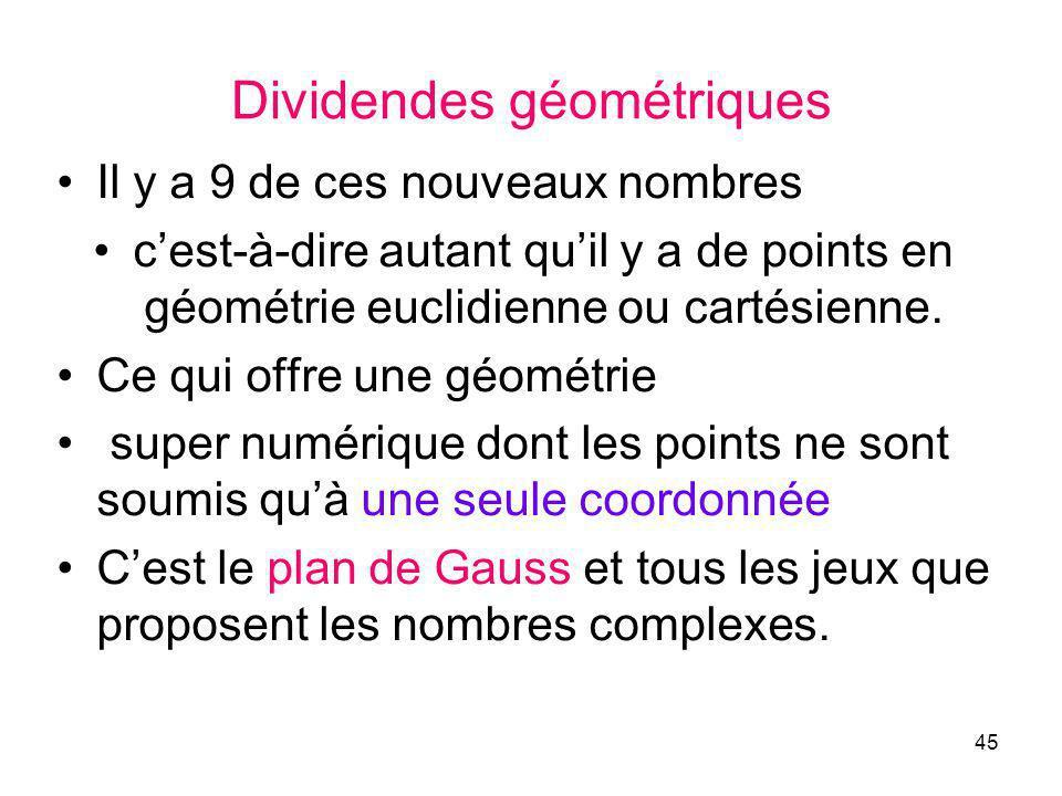 45 Dividendes géométriques Il y a 9 de ces nouveaux nombres cest-à-dire autant quil y a de points en géométrie euclidienne ou cartésienne.