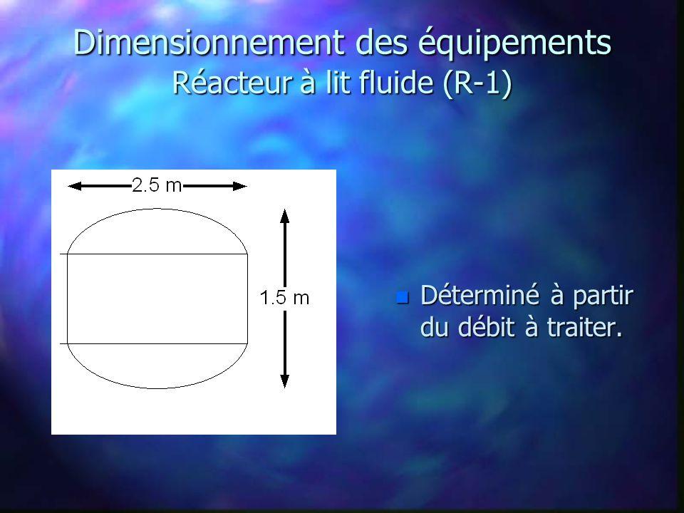 Dimensionnement des équipements Réacteur à lit fixe (R-2) n Déterminé à partir du débit à traiter.