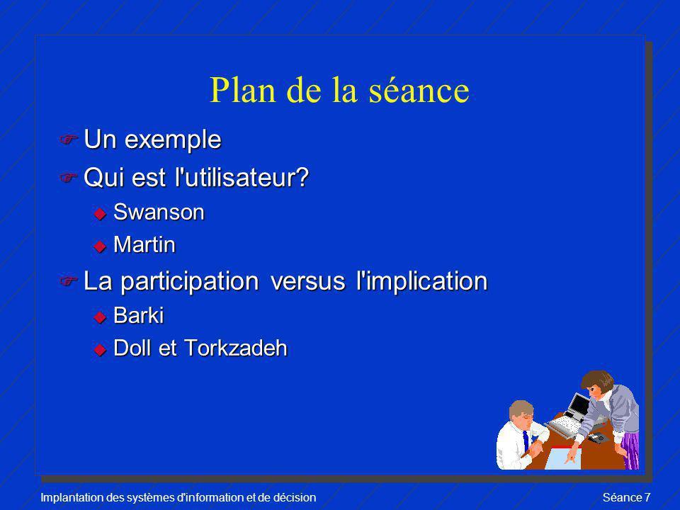 Implantation des systèmes d information et de décisionSéance 7 Conclusion F Participation vs implication u deux concepts distincts u Le premier influence le second, mais pas l inverse.