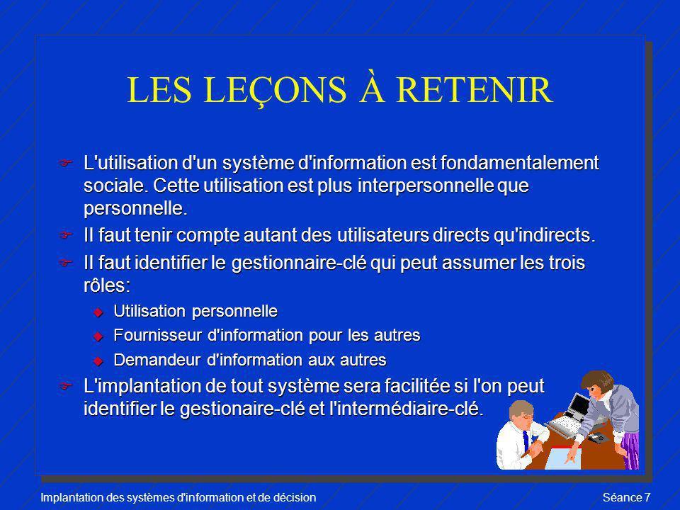 Implantation des systèmes d'information et de décisionSéance 7 LES LEÇONS À RETENIR F L'utilisation d'un système d'information est fondamentalement so