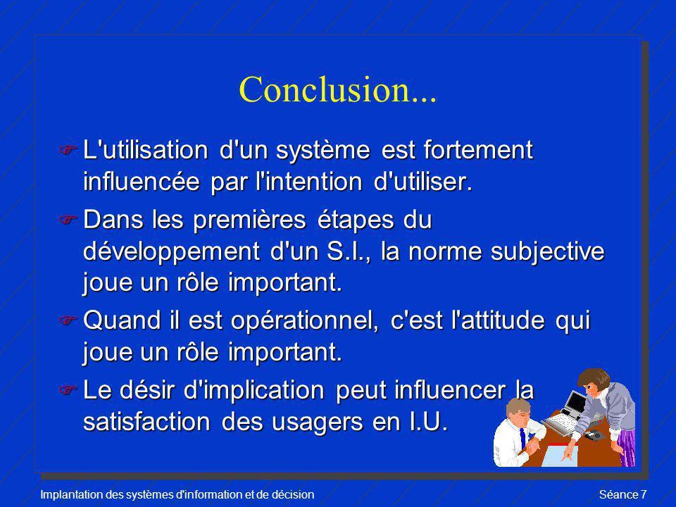 Implantation des systèmes d'information et de décisionSéance 7 Conclusion... F L'utilisation d'un système est fortement influencée par l'intention d'u