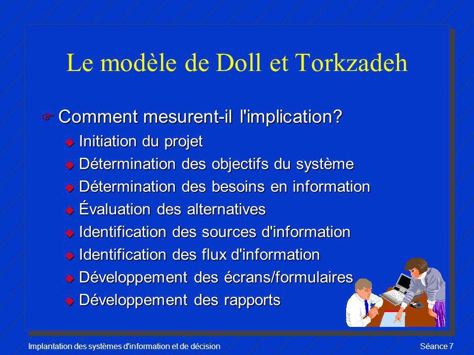 Implantation des systèmes d'information et de décisionSéance 7 Le modèle de Doll et Torkzadeh F Comment mesurent-il l'implication? u Initiation du pro