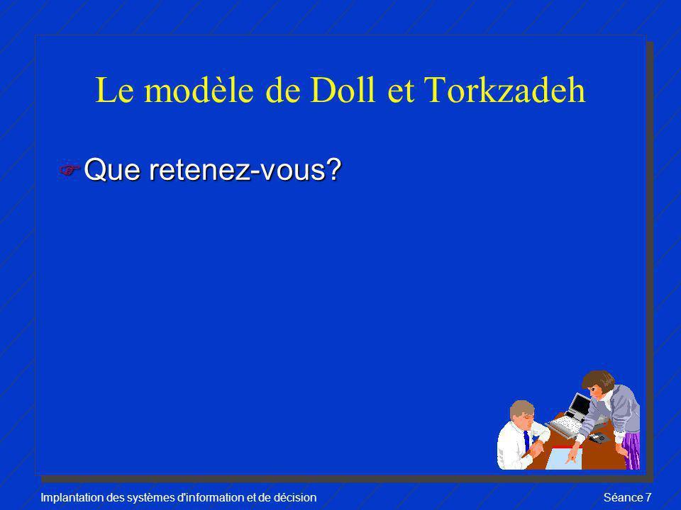 Implantation des systèmes d'information et de décisionSéance 7 Le modèle de Doll et Torkzadeh F Que retenez-vous?