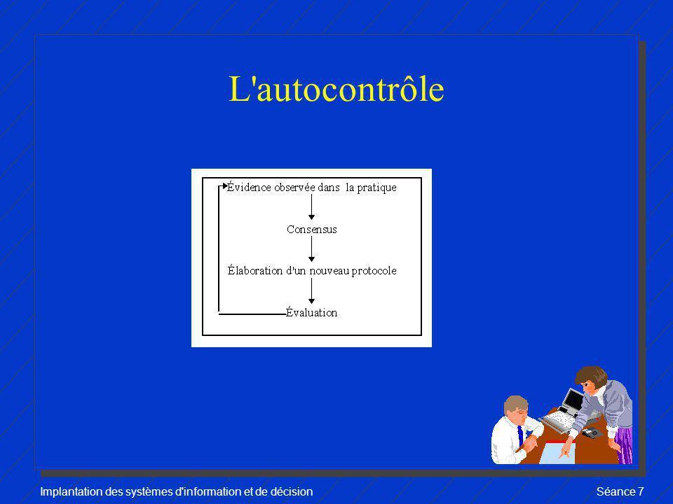 Implantation des systèmes d information et de décisionSéance 7 L approche autocontrôle