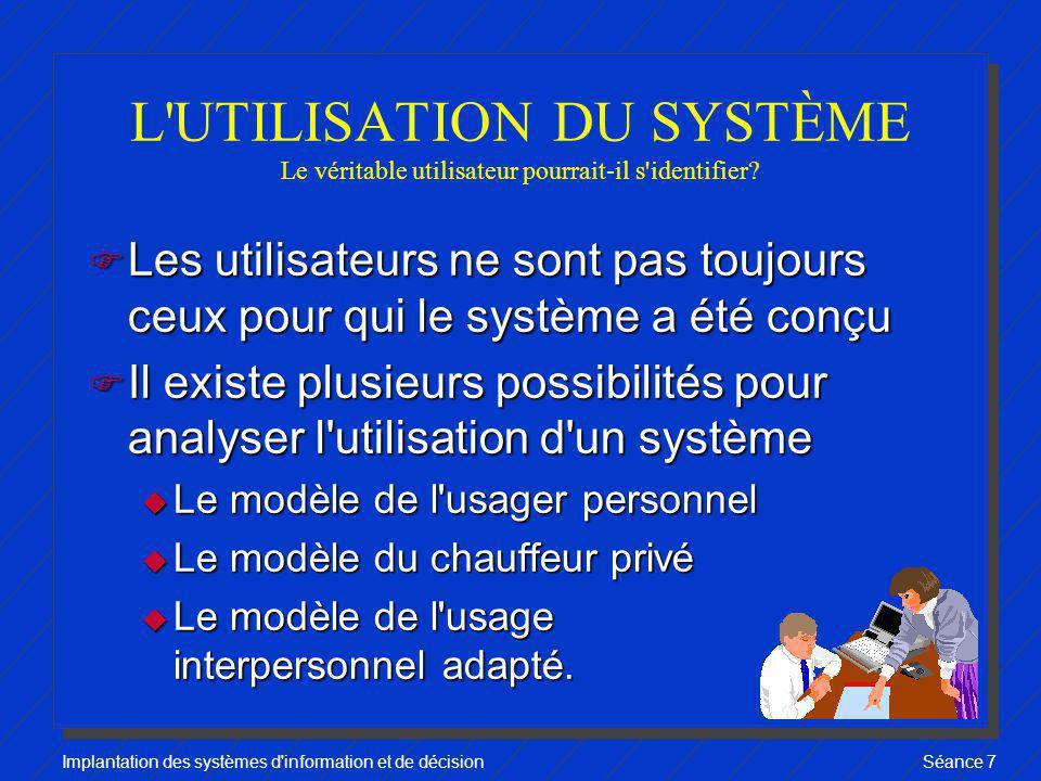 Implantation des systèmes d information et de décisionSéance 7 L USAGE PERSONNEL F Objectif visé: amener le gestionnaire à répondre lui- même à ses besoins en information.
