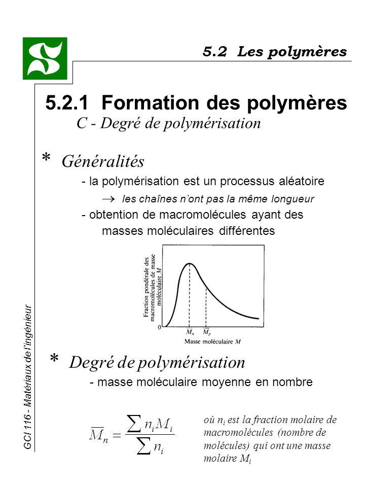 GCI 116 - Matériaux de lingénieur 5.2 Les polymères 5.2.1 Formation des polymères * Généralités - la polymérisation est un processus aléatoire les cha