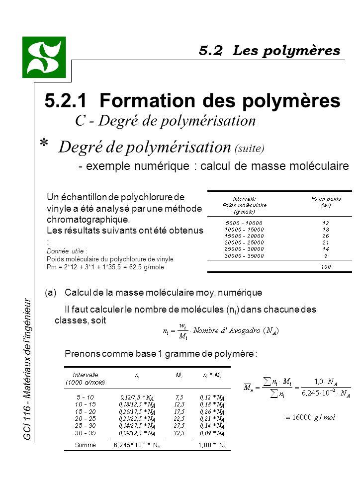 GCI 116 - Matériaux de lingénieur 5.2 Les polymères 5.2.1 Formation des polymères * Degré de polymérisation (suite) - exemple numérique : calcul de ma