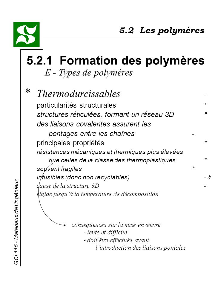 GCI 116 - Matériaux de lingénieur 5.2 Les polymères 5.2.1 Formation des polymères E - Types de polymères * Thermodurcissables - particularités structu
