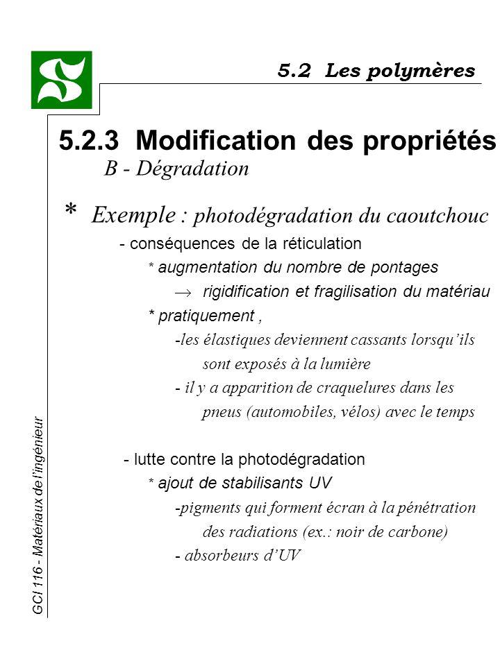 GCI 116 - Matériaux de lingénieur 5.2 Les polymères 5.2.3 Modification des propriétés B - Dégradation * Exemple : photodégradation du caoutchouc - con