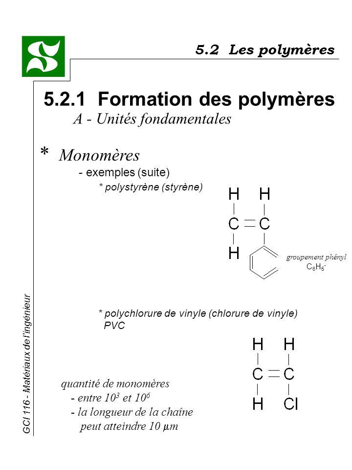 GCI 116 - Matériaux de lingénieur 5.2 Les polymères 5.2.1 Formation des polymères * Monomères - exemples(suite) * polystyrène (styrène) A - Unités fon
