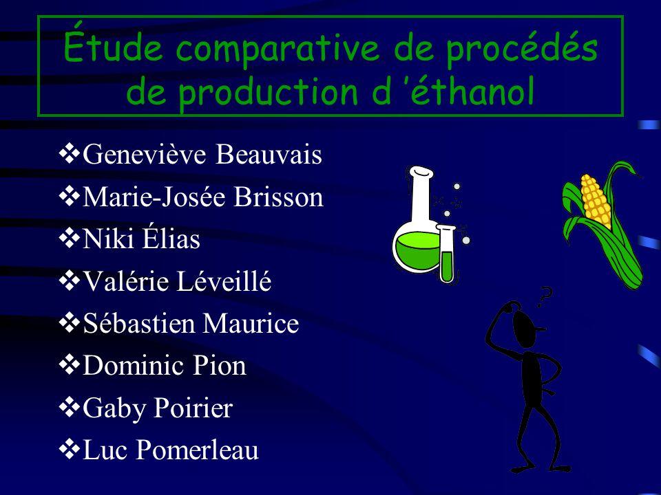 Étude comparative de procédés de production d éthanol vGeneviève Beauvais vMarie-Josée Brisson vNiki Élias vValérie Léveillé vSébastien Maurice vDomin