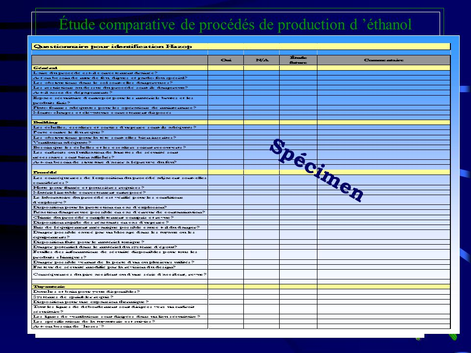 HAZOP: Fiches de sécurité MSDS Étude comparative de procédés de production d éthanol Par exemple pour l éthanol Spécimen