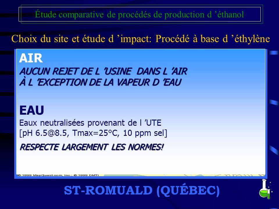 Choix du site et étude d impact: Procédé à base d éthylène Étude comparative de procédés de production d éthanol ST-ROMUALD (QUÉBEC) /Attraits majeurs