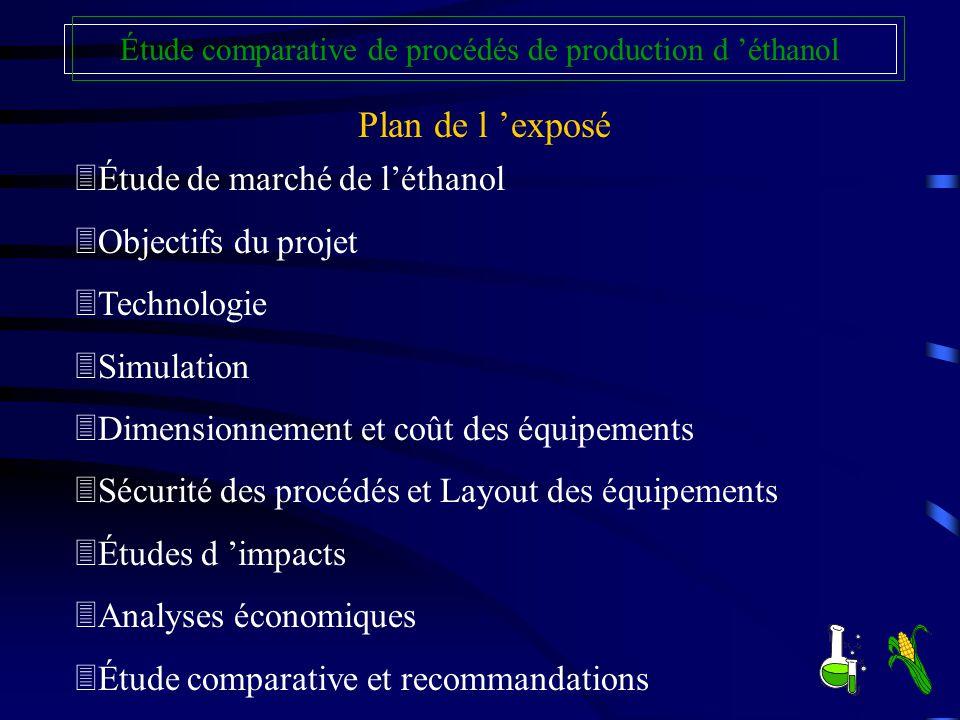 Plan de l exposé 3Étude de marché de léthanol 3Objectifs du projet 3Technologie 3Simulation 3Dimensionnement et coût des équipements 3Sécurité des pro