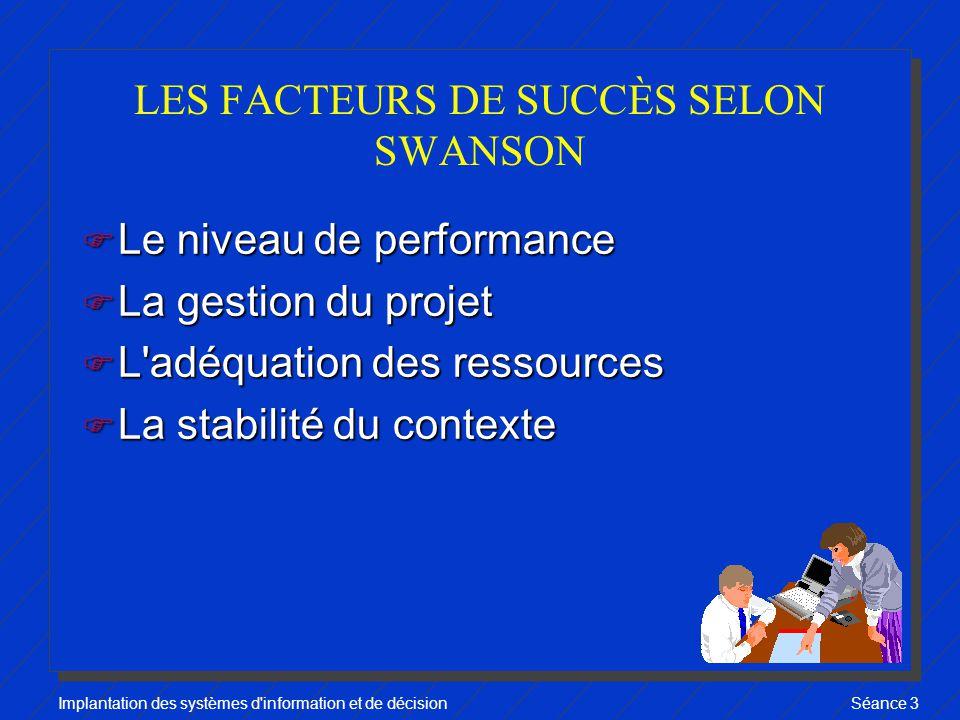 Implantation des systèmes d information et de décisionSéance 3 LES FACTEURS DE SUCCÈS SELON SWANSON F Le niveau de performance F La gestion du projet F L adéquation des ressources F La stabilité du contexte