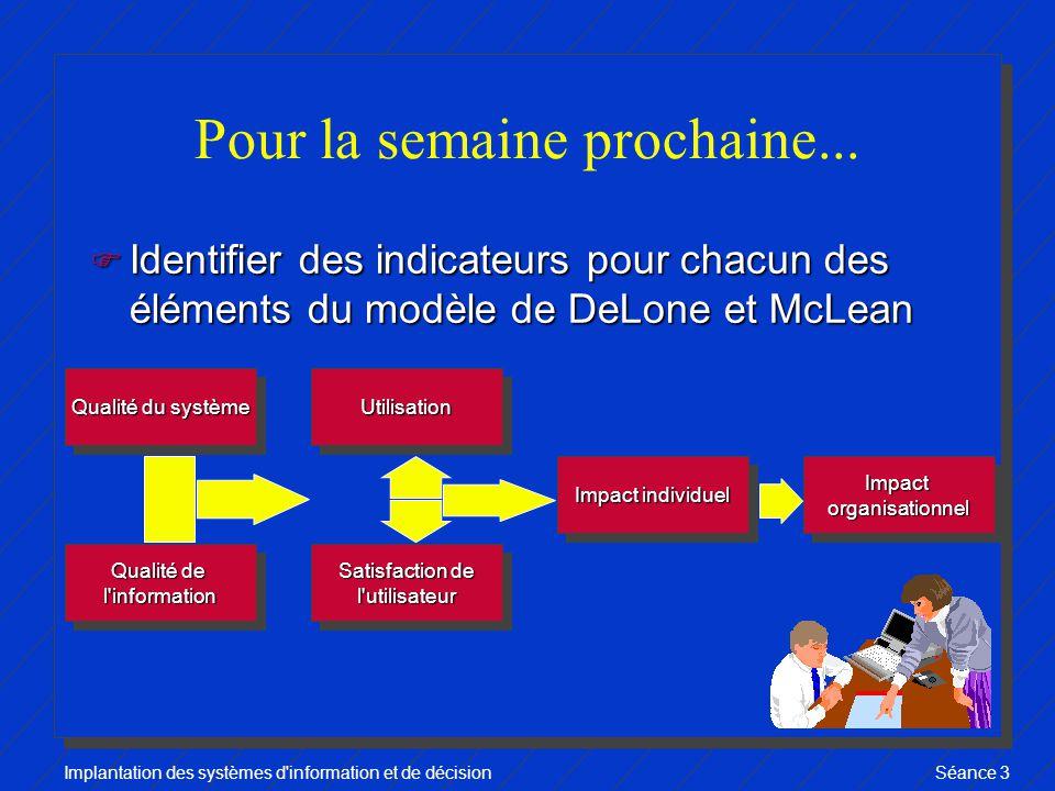 Implantation des systèmes d information et de décisionSéance 3 Pour la semaine prochaine...