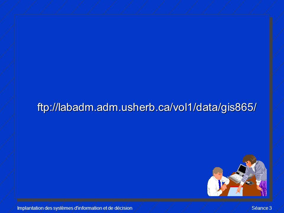 Implantation des systèmes d information et de décisionSéance 3 ftp://labadm.adm.usherb.ca/vol1/data/gis865/