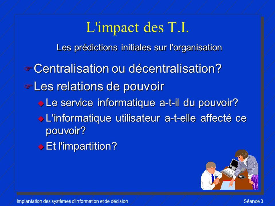 Implantation des systèmes d information et de décisionSéance 3 Les prédictions initiales sur l organisation L impact des T.I.